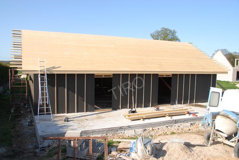 Maison en bois plain pied cubique cube 4 plan maison cubique bac acier plain pied architecte Toit mansarde bardage bois